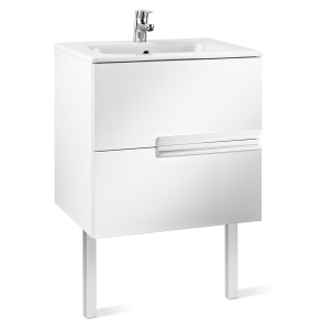 Roca Victoria-N Unik 2-Drawers Vanity Unit with Basin 600mm Wide Gloss White 1 Tap Hole - 855834806 RO10399