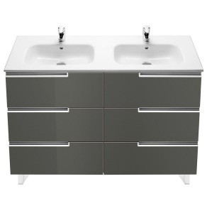 Roca Victoria-N Unik 6-Drawers Vanity Unit with Double Basin 1200mm Wide Gloss Grey 2 Tap Hole - 855835153 RO10430