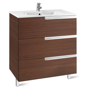 Roca Victoria-N Unik 3-Drawers Vanity Unit with Basin 700mm Wide Textured Wenge 1 Tap Hole - 855838154 RO10414