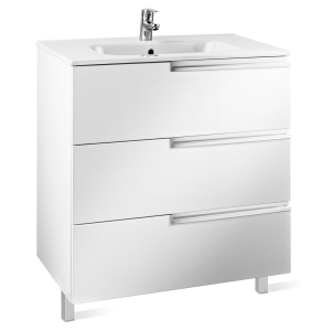 Roca Victoria-N Unik 3-Drawers Vanity Unit with Basin 1000mm Wide Gloss White 1 Tap Hole - 855836806 RO10422
