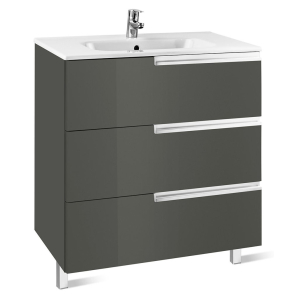 Roca Victoria-N Unik 3-Drawers Vanity Unit with Basin 800mm Wide Gloss Grey 1 Tap Hole - 855837153 RO10416