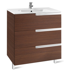 Roca Victoria-N Unik 3-Drawers Vanity Unit with Basin 600mm Wide Textured Wenge 1 Tap Hole - 855839154 RO10437