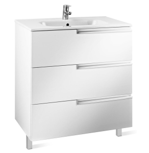 Roca Victoria-N Unik 3-Drawers Vanity Unit with Basin 600mm Wide Gloss White 1 Tap Hole - 855839806 RO10410