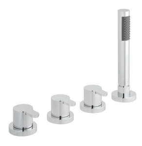 Vado Sense 4 Hole Bath Shower Mixer Deck Mounted Without Spout For Use With Bath Filler Waste And Overflow - Sen-135/Ns-C/P VADO1867