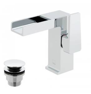 Vado Synergie Single Lever Mono Basin Mixer Single Lever Deck Mounted With Waterfall Spout And Clic-Clac Waste - Syn-100/Cc-C/P VADO1660