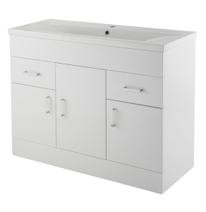Nuie Eden Gloss White Contemporary Minimalist 1 Tap Hole 1000mm Cabinet & Basin 2 - VTMW1000 VTMW1000