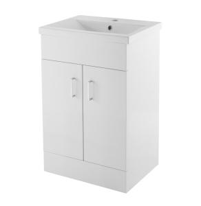 Nuie Eden Gloss White Contemporary Floor Standing 500mm Cabinet & Basin 2 - VTMW500E VTMW500E