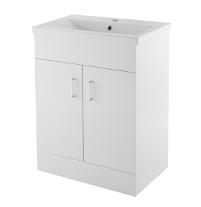 Nuie Eden Gloss White Contemporary Minimalist 1 Tap Hole 600mm Cabinet & Basin 1 - VTMW600 VTMW600