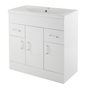 Nuie Eden Gloss White Contemporary Minimalist 1 Tap Hole 800mm Cabinet & Basin 1 - VTMW800 VTMW800