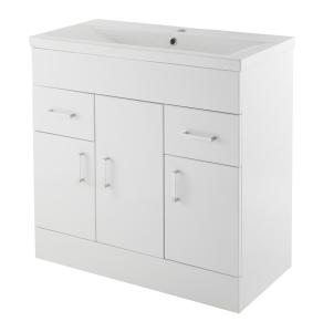Nuie Eden Gloss White Contemporary Minimalist 1 Tap Hole 800mm Cabinet & Basin 2 - VTMW800E VTMW800E