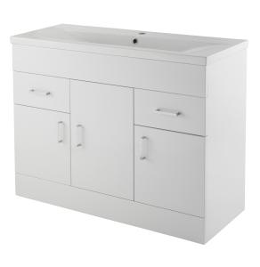 Nuie Eden Gloss White Contemporary Minimalist 1 Tap Hole 1000mm Cabinet & Basin 1 - VTNB1000 VTNB1000
