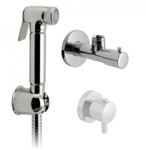 Vado Luxury Shattaf Kit With Concealed Thermostatic Mixing Valve And Angle Valve With 120Cm Hose And Wall Bracket, Wall Mounted - Xsh-Shattaf/163-C/P VADO1912