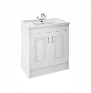 Premier York Floor Standing Vanity Unit with Basin 800mm Wide White Ash 1 Tap Hole - YOR105 YOR105