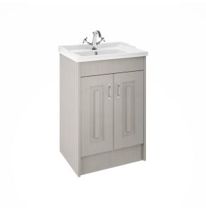 Nuie York Floor Standing Vanity Unit with Basin 600mm Wide Grey Woodgrain 1 Tap Hole - YOR203 YOR203