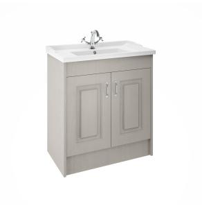 Nuie Premier York Floor Standing Vanity Unit with Basin 800mm Wide Grey Woodgrain 1 Tap Hole - YOR205 YOR205