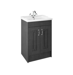 Nuie York Royal Grey Traditional Floor Standing 600mm Cabinet & Basin - YOR403 YOR403