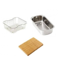Carron Phoenix Zeta 150 Accessory Pack Includes Bamboo Chopping Board, Wire Basket & Strainer Bowl - 112.0068.218 CAR1078
