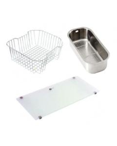 Carron Phoenix Maui 150 Accessory Pack Includes Glass Chopping Board, Wire Basket & Strainer Bowl - 112.0171.046 CAR1068