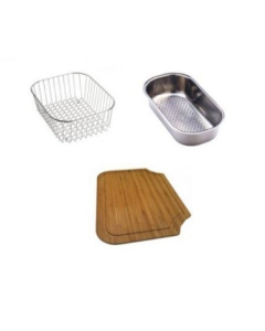 Carron Phoenix Rapid 150 Accessory Pack Includes Bamboo Chopping Board, Wire Basket & Strainer Bowl - 112.0187.232 CAR1076