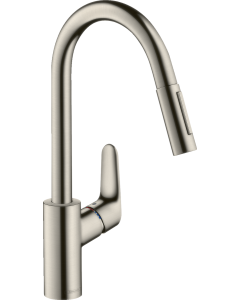 Focus Single lever kitchen mixer 240 with pull-out spray in Stainless Steel - 31815800 31815800