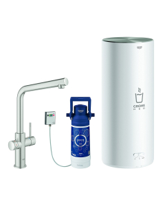 GROHE RED Duo L Boiling Hot Water Kitchen Tap L Spout In SuperSteel With L Size Boiler - 30340DC1 30340DC1