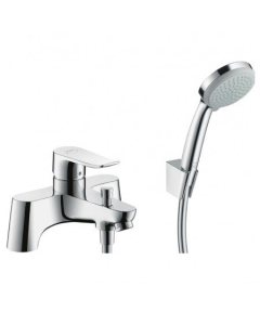 HANSGROHE METRIS 2-HOLE RIM-MOUNTED MANUAL SINGLE LEVER BATH MIXER LOWPRESSURE MIN. 0.2 BAR WITH DIVERTER VALVE AND CROMA 100 HAND SHOWER VARIO - 31422000 31422000