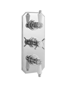 Nuie Edwardian Chrome Traditional Triple Thermostatic Shower Valve - A3057 A3057