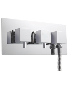 Nuie Volt Chrome Contemporary Twin Thermostatic Shower Valve With Diverter - A3077 A3077