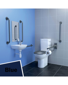 Armitage Shanks Contour 21 Doc M Pack with Close Coupled Toilet and Blue Rail Left Handed - S0683LI AS10246