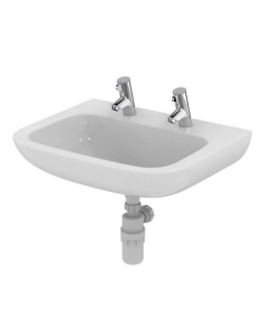 Armitage Shanks Portman 21 Wall Hung Basin No Overflow 600mm Wide - 2 Tap Hole AS10071