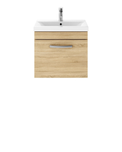 Nuie Athena Natural Oak Contemporary 500 Wall Hung Single Drawer Vanity With Basin 2 - ATH010B ATH010B