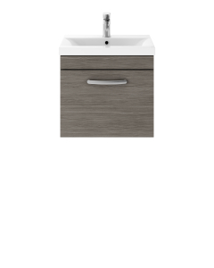 Nuie Athena Brown Grey Avola Contemporary 500 Wall Hung Single Drawer Vanity With Basin 1 - ATH011A ATH011A