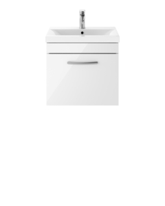 Nuie Athena Gloss White Contemporary 500mm Wall Hung Vanity & Basin 3 - ATH013D ATH013D