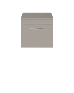 Nuie Athena Stone Grey Contemporary 500 Wall Hung Single Drawer Vanity With Worktop - ATH014W ATH014W