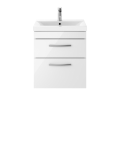 Nuie Athena Gloss White Contemporary 500 Wall Hung 2-Drawer Vanity With Basin 1 - ATH020A ATH020A