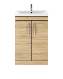 Nuie Athena Natural Oak Contemporary 600 Floor Standing 2-Door Vanity With Basin 1 - ATH024A ATH024A