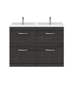 Nuie Athena Hacienda Black Contemporary 1200mm Floor Standing Cabinet & Double Basin - ATH033C ATH033C