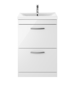 Nuie Athena Gloss White Contemporary 600 Floor Standing 2-Drawer Vanity With Basin 1 - ATH034A ATH034A