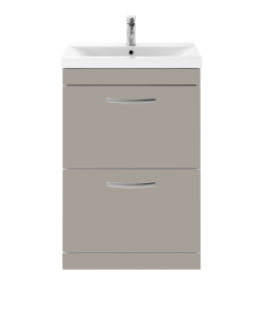 Nuie Athena Stone Grey Contemporary 600 Floor Standing 2-Drawer Vanity With Basin 1 - ATH035A ATH035A