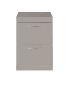 Nuie Athena Stone Grey Contemporary 600 Floor Standing 2-Drawer Vanity With Worktop - ATH035W ATH035W