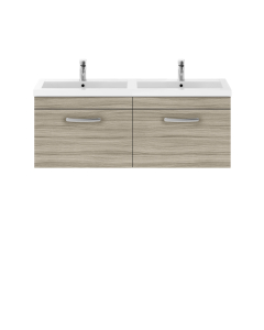 Nuie Athena Driftwood Contemporary Wall Hung 1200mm Cabinet & Double Basin - ATH036C ATH036C