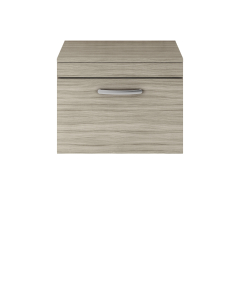 Nuie Athena Driftwood Contemporary 600 Wall Hung Single Drawer Vanity With Worktop - ATH036W ATH036W