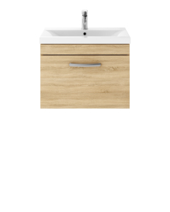Nuie Athena Natural Oak Contemporary 600mm Wall Hung Vanity & Basin 3 - ATH038D ATH038D