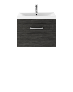 Nuie Athena Hacienda Black Contemporary 600 Wall Hung Single Drawer Vanity With Basin 2 - ATH040B ATH040B