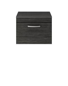 Nuie Athena Hacienda Black Contemporary 600 Wall Hung Single Drawer Vanity With Worktop - ATH040W ATH040W