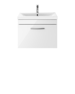 Nuie Athena Gloss White Contemporary 600 Wall Hung Single Drawer Vanity With Basin 1 - ATH041A ATH041A