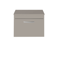 Nuie Athena Stone Grey Contemporary 600 Wall Hung Single Drawer Vanity With Worktop - ATH042W ATH042W