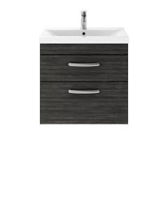Nuie Athena Hacienda Black Contemporary 600 Wall Hung 2-Drawer Vanity With Basin 2 - ATH047B ATH047B