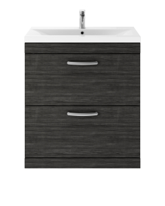 Nuie Athena Hacienda Black Contemporary 800 Floor Standing 2-Drawer Vanity With Basin 2 - ATH054B ATH054B