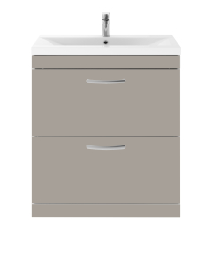 Nuie Athena Stone Grey Contemporary 800 Floor Standing 2-Drawer Vanity With Basin 2 - ATH056B ATH056B